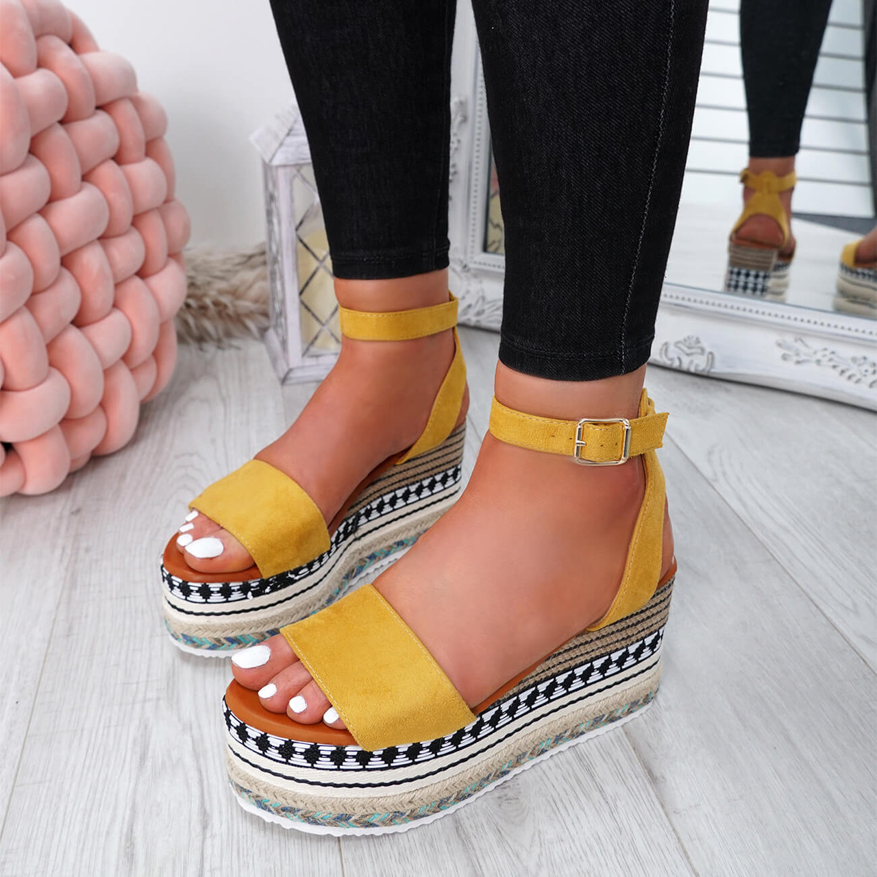 3eeab63ff03bc Womens Ladies Ankle Strap Flatform Sandals Platform Summer ...