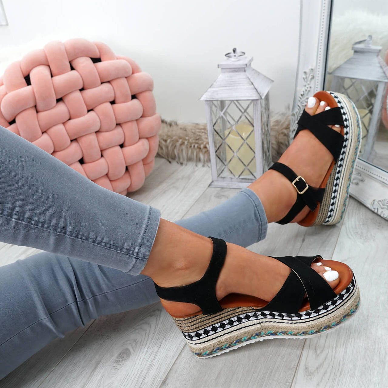 24d09fc37ce Womens Ladies Flatform Espadrille Sandals High Heel Platforms Shoes Size