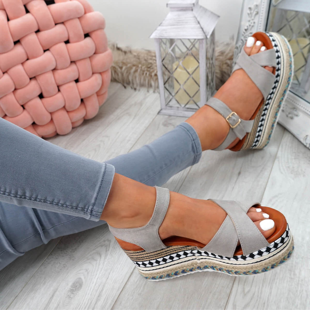 Espadrille Flatform Espadrille Grey Grey Egis Sandals Egis c3q4RjL5A