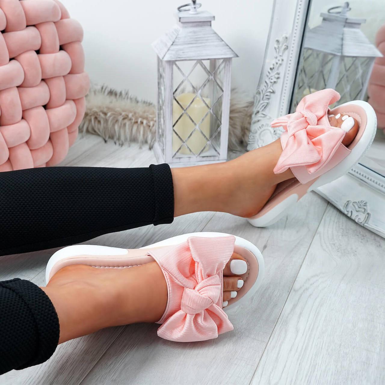 Womens Ladies Bow Flat Sandals Slip On