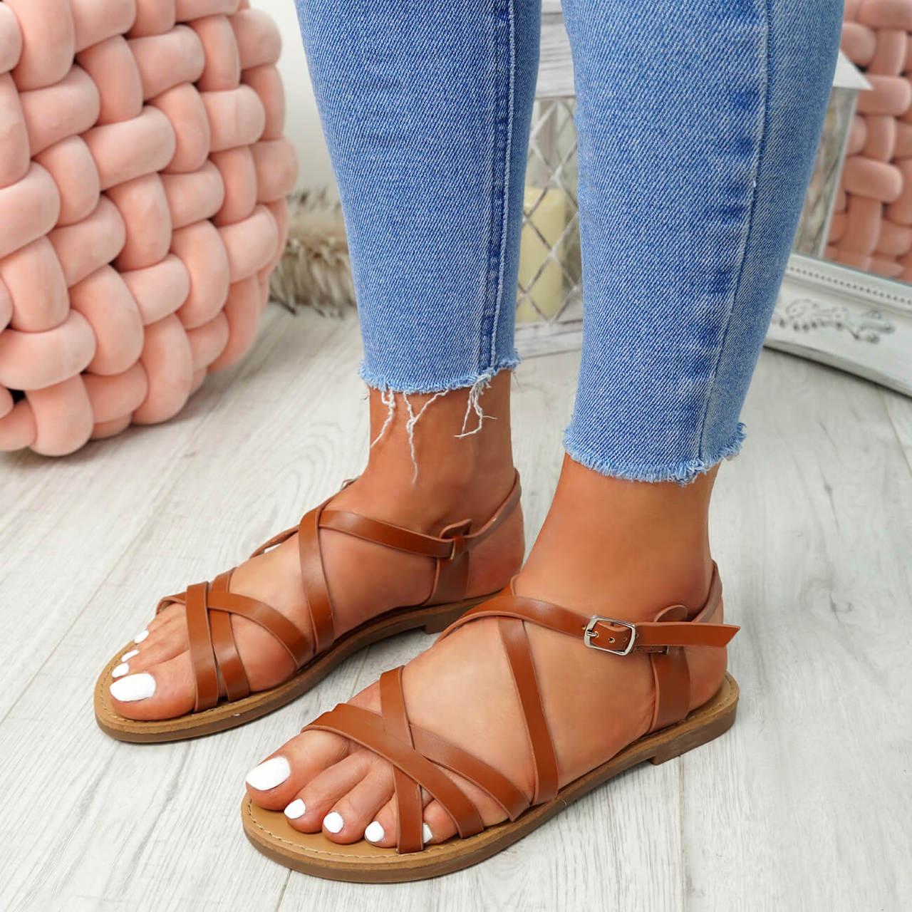 Womens Ladies Ankle Strap Peep Toe