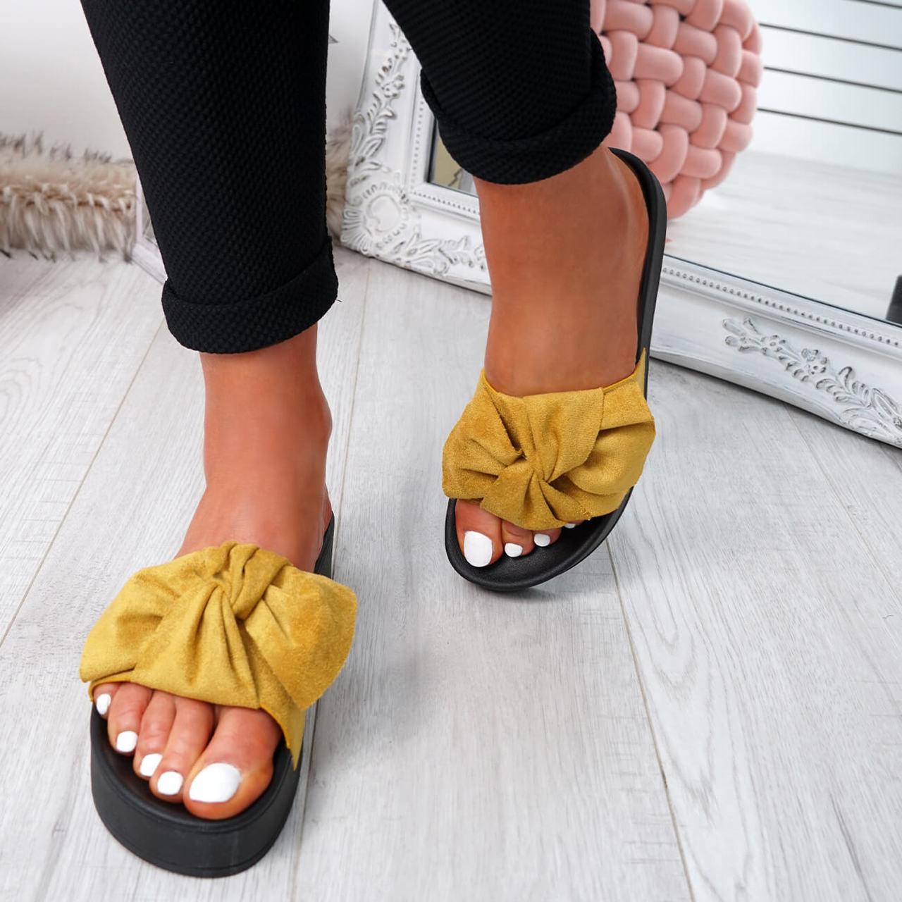 f2f7b543603 Womens Ladies Bow Sliders Low Heel Peep Toe Flat Sandals Summer ...
