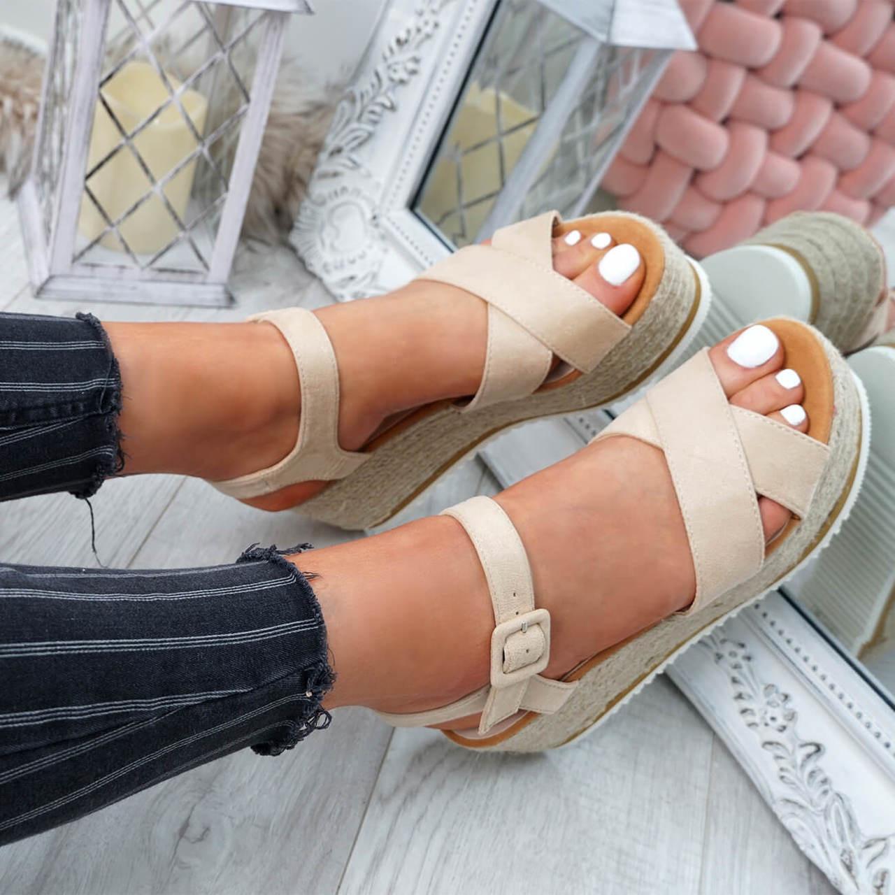 d0dfde9421c Womens Ladies Ankle Strap Espadrille Flatforms Wedge Platform ...