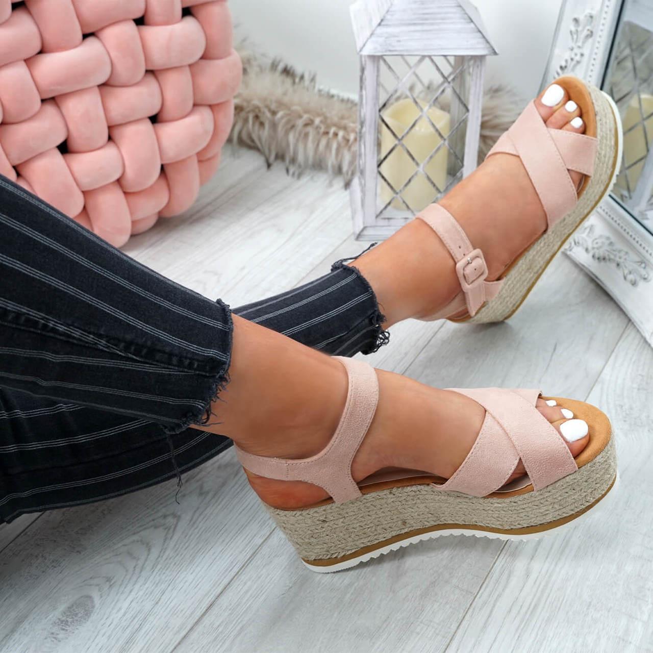 e23d1ef598a Womens Ladies Ankle Strap Espadrille Flatforms Wedge Platform ...
