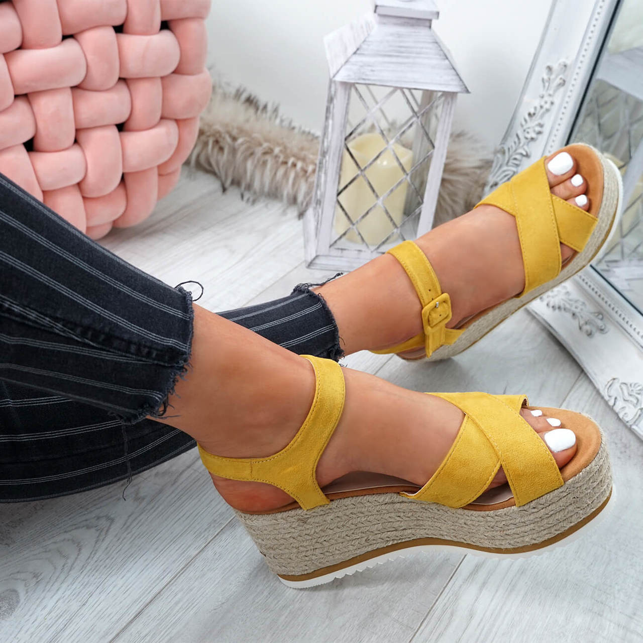 812728c1260 Womens Ladies Ankle Strap Espadrille Flatforms Wedge Platform Sandals Shoes  Size