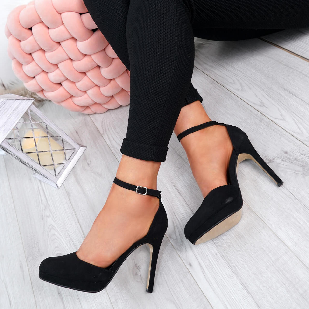 Womens Ladies Ankle Strap Stiletto