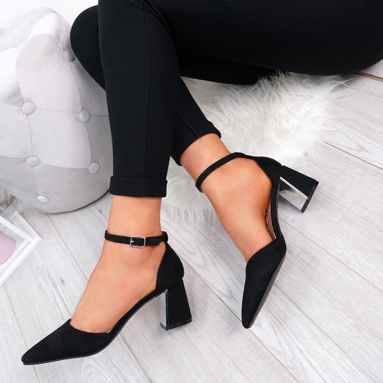 3b55a6ae0c7 Womens Ladies Ankle Strap Pointed High Block Heel Pumps Court Shoes Size