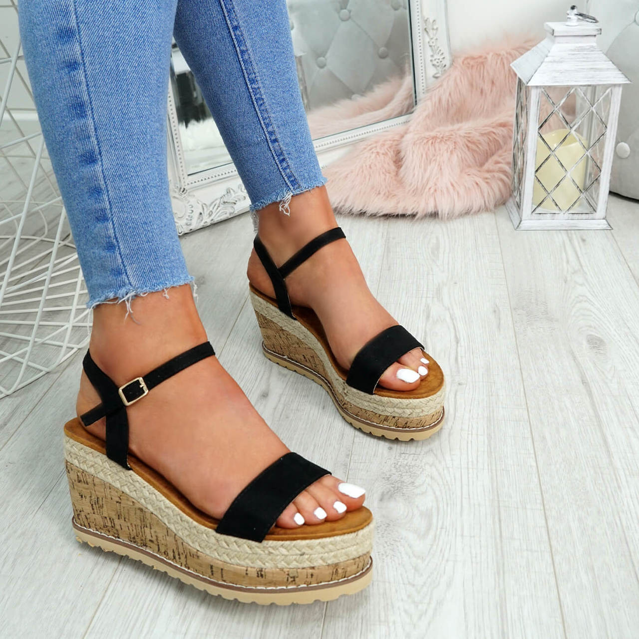 8e036d824c3 Womens Ladies High Heel Platform Sandals Wedge Buckle Peep Toe Shoes Size