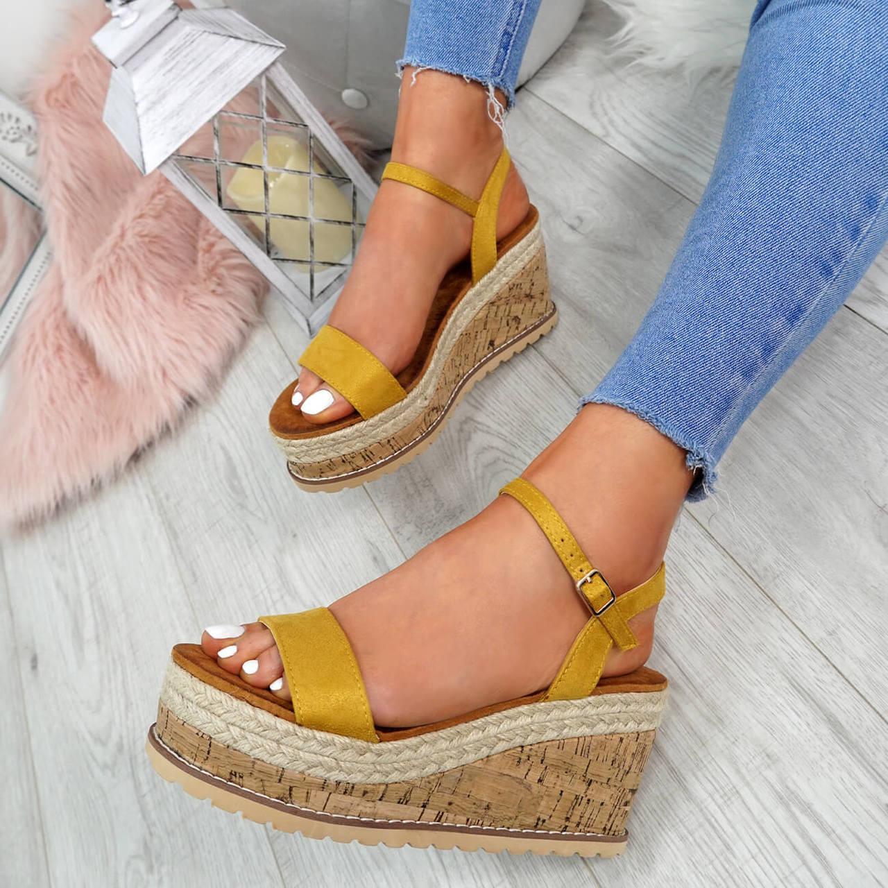 c8e1392b5fc4 Womens Ladies High Heel Platform Sandals Wedge Buckle Peep Toe Shoes Size