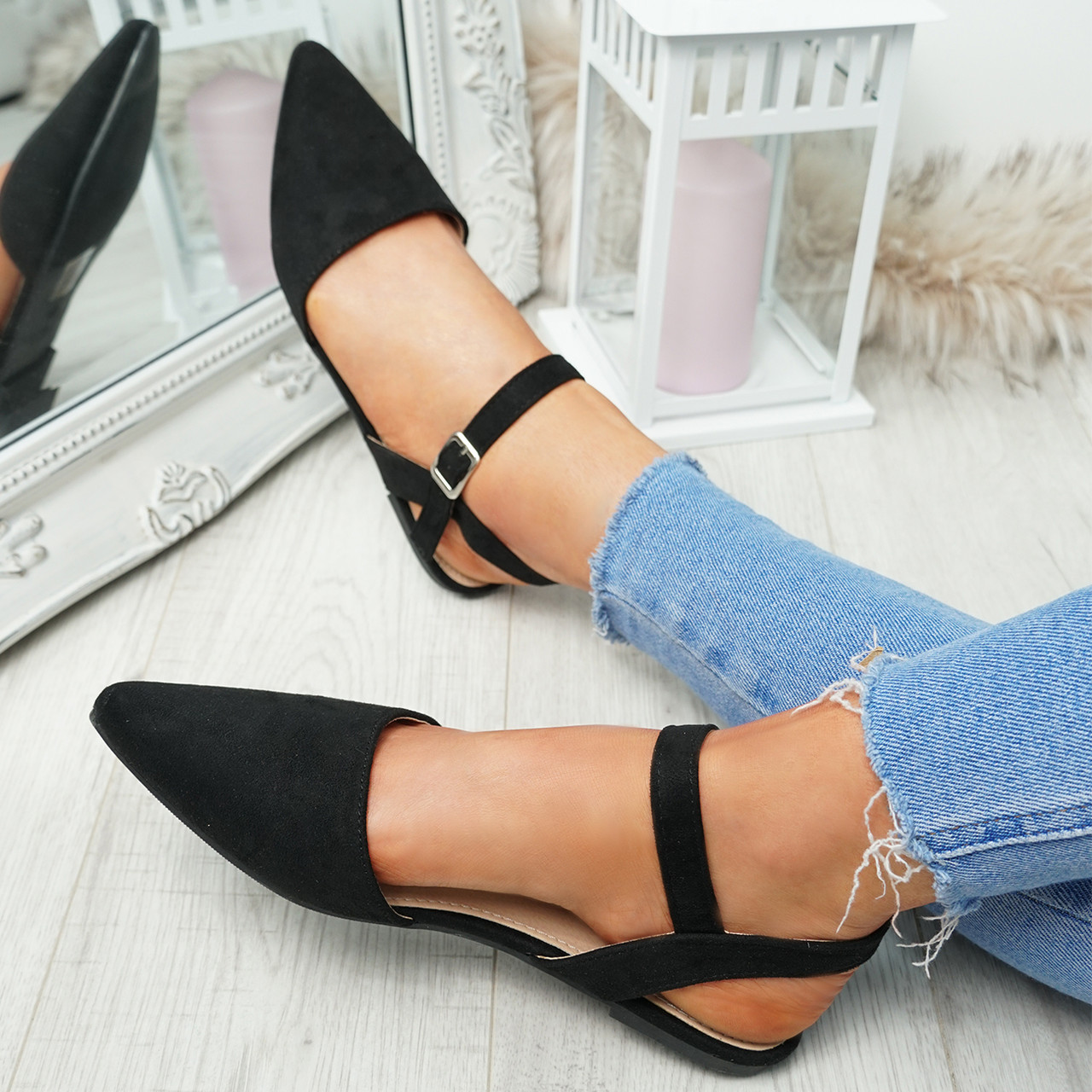 NEW WOMENS LADIES  FLAT BUCKLE STRAP OFFICE WORK CASUAL PUMPS SHOES SIZE 3-8
