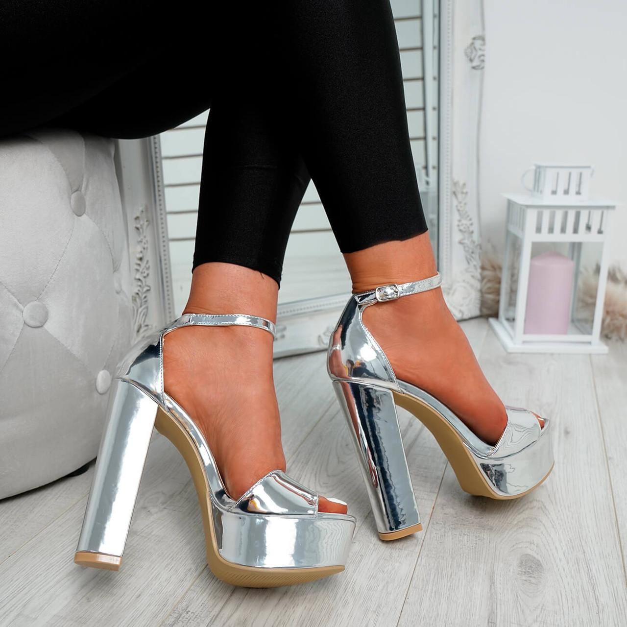 52305b0353 Womens Ladies Ankle Strap Block Heel Peep Toe Club Metallic Sandals ...