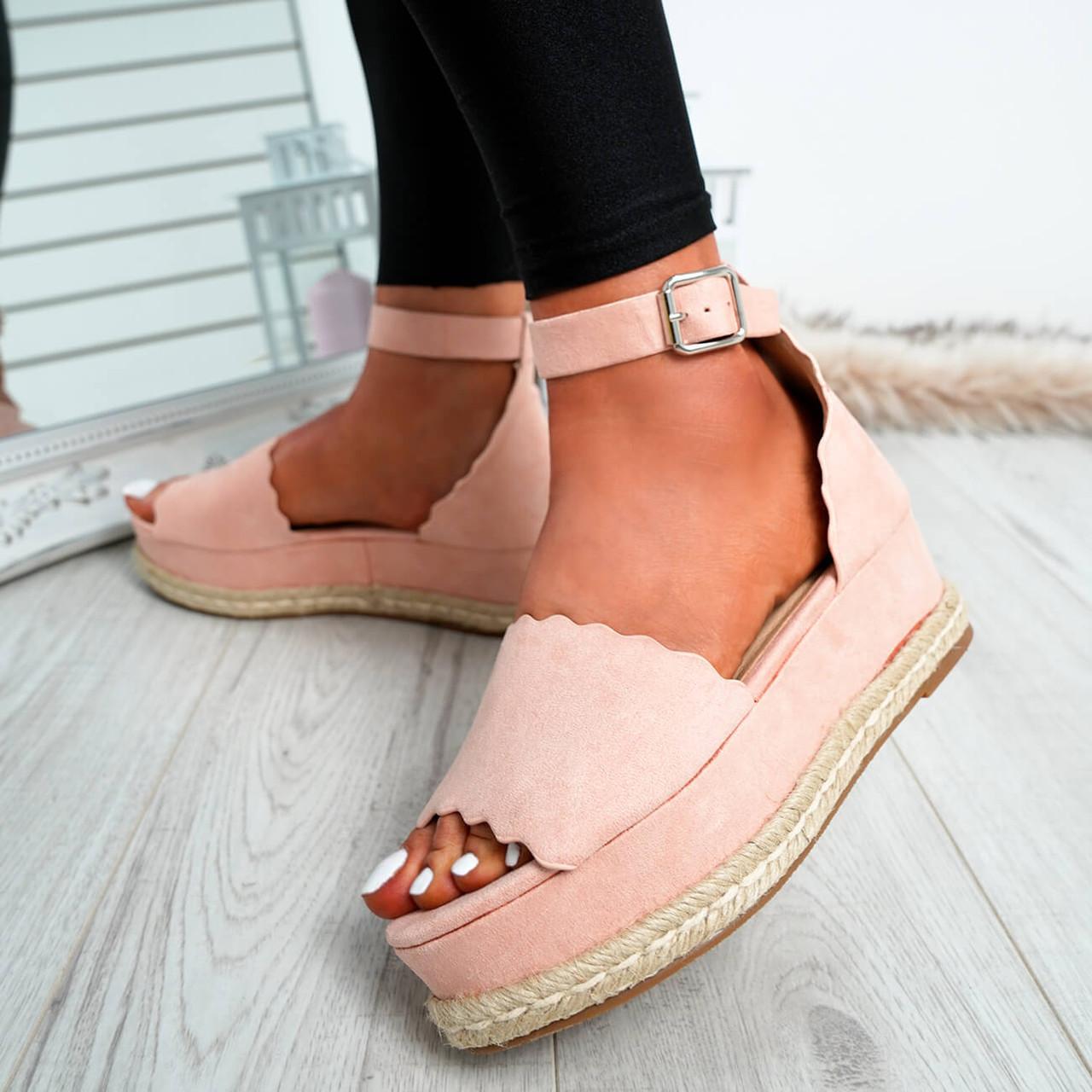 eee15b32d0e Womens Ladies Espadrille Wedge Platform Sandals Ankle Strap Casual ...
