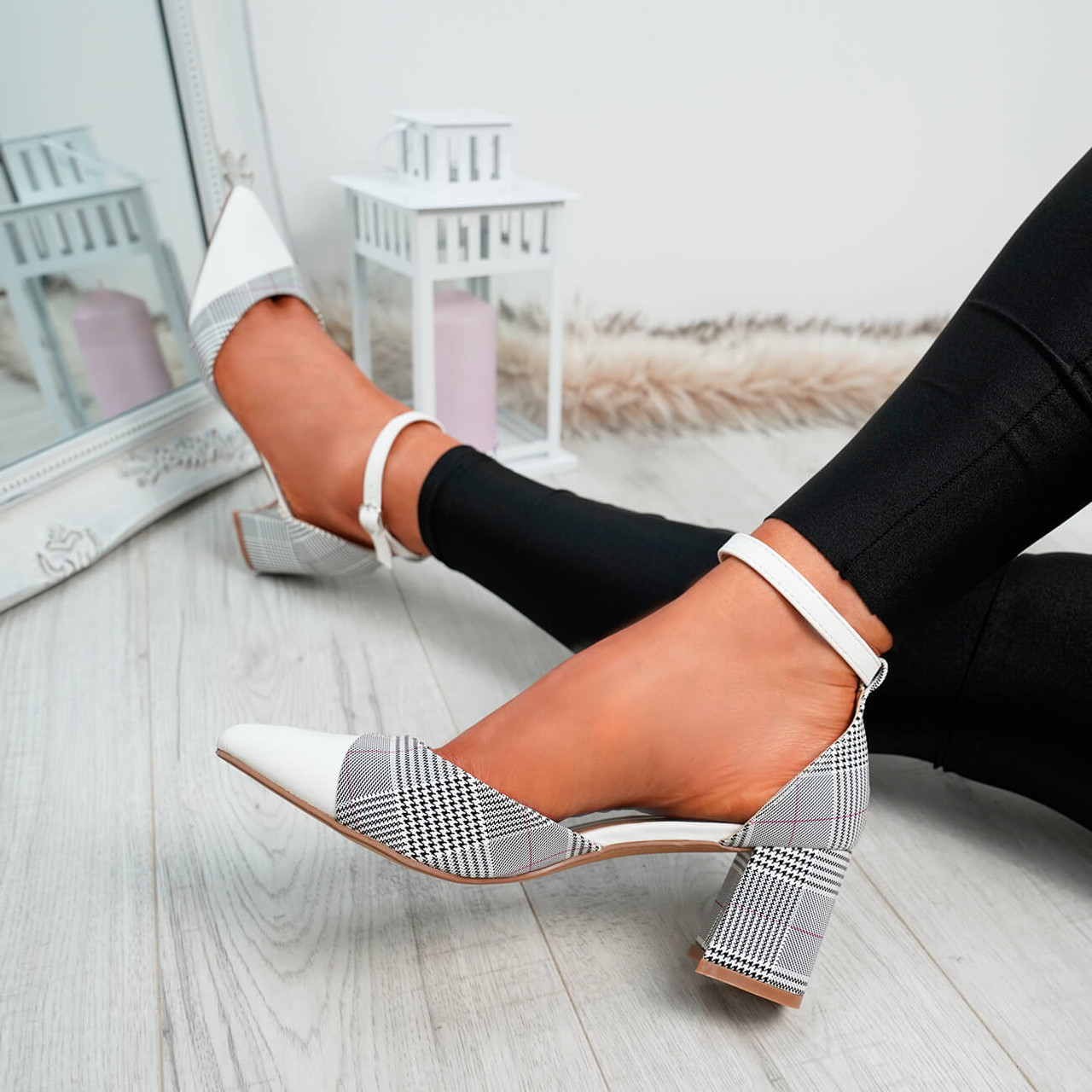0a3c6a8363 Womens Ladies Striped Pumps Ankle Strap High Block Heels Casual Party Shoes