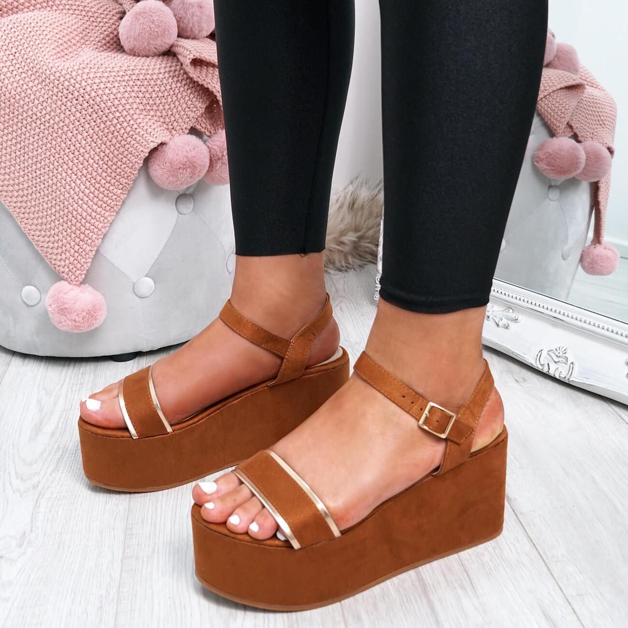 Womens Ladies Black Sandals Studded Flatform Platform Summer Low Heel Wedge Size