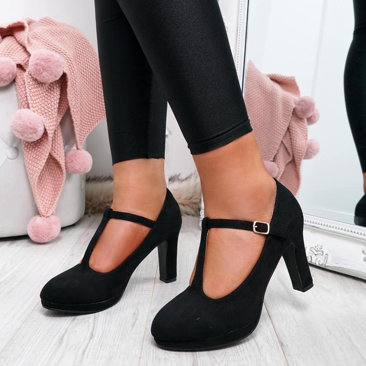 black round toe block heel pumps