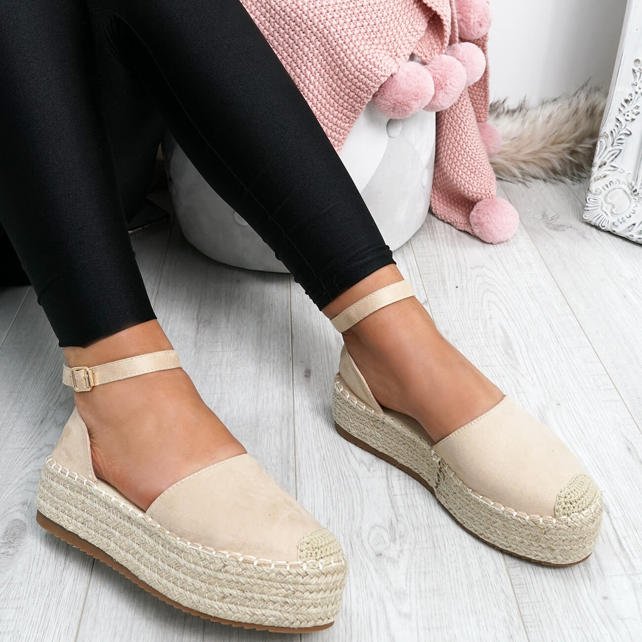 WOMENS LADIES ESPADRILLE SLIP ON BALLERINAS FLATFORM CASUAL SHOES SIZE