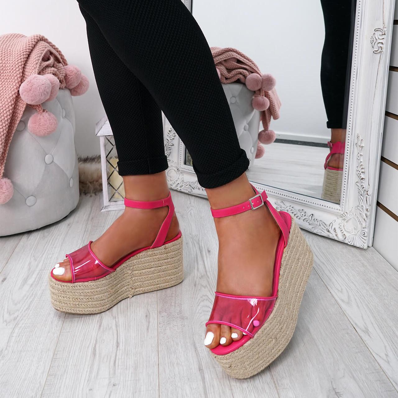 8afe8e4762d71 Womens Ladies Ankle Strap Platform Flatform Wedge High Heel Sandals Shoes