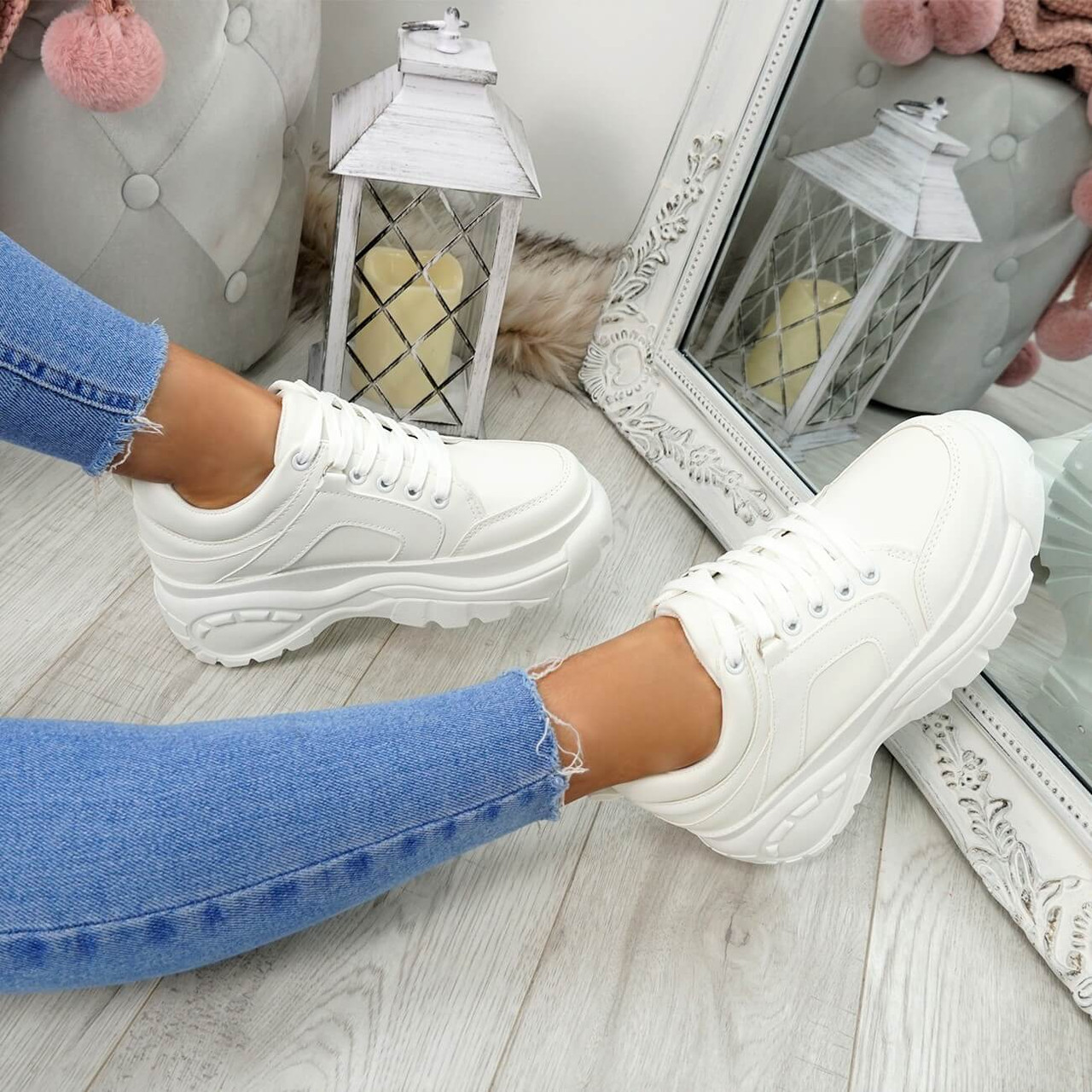 Womens Ladies Chunky Trainers Lace Up
