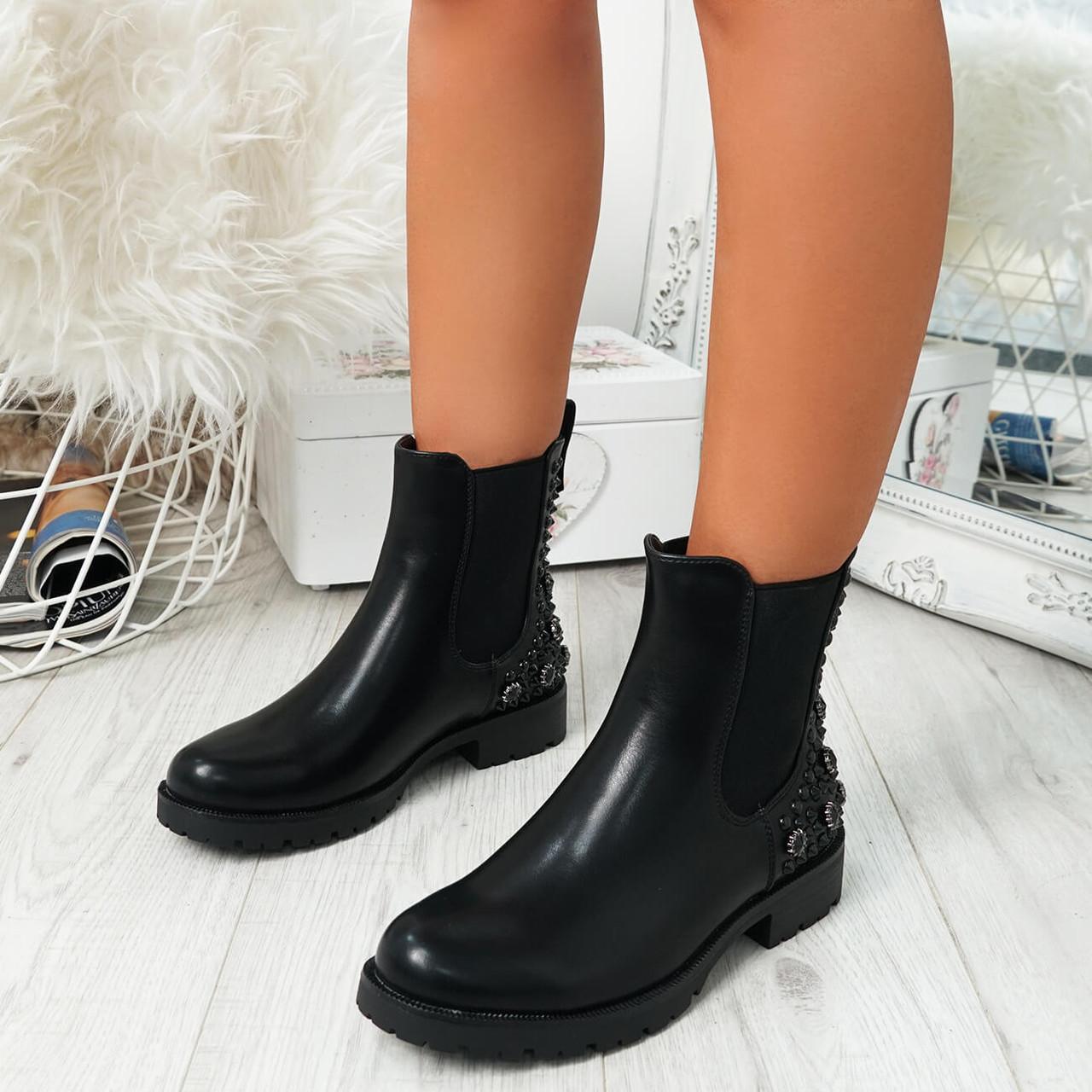 Bavva Black Pu Studded Ankle Boots - 1