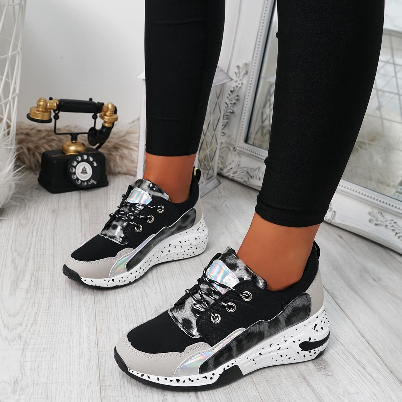 Arra Black Chunky Trainers - Online