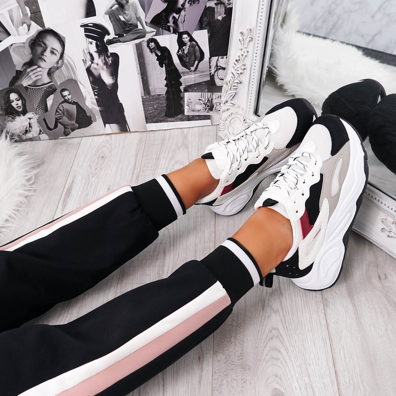 black chunky sole trainers