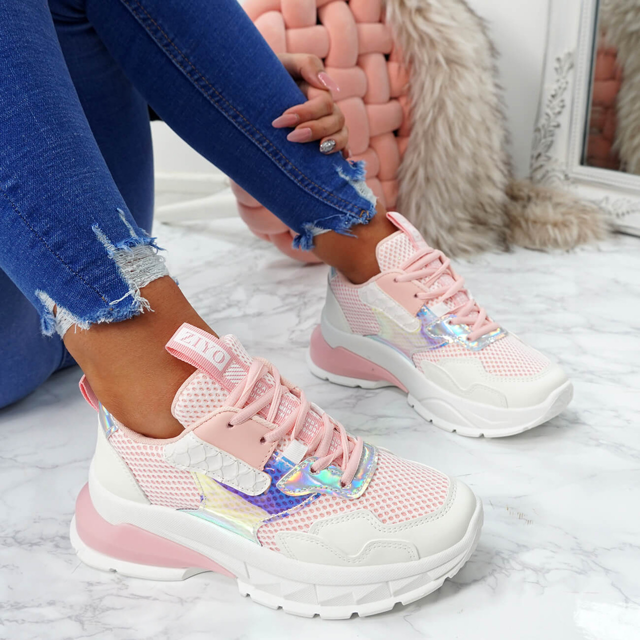 Geppe Pink Chunky Trainers - Platform
