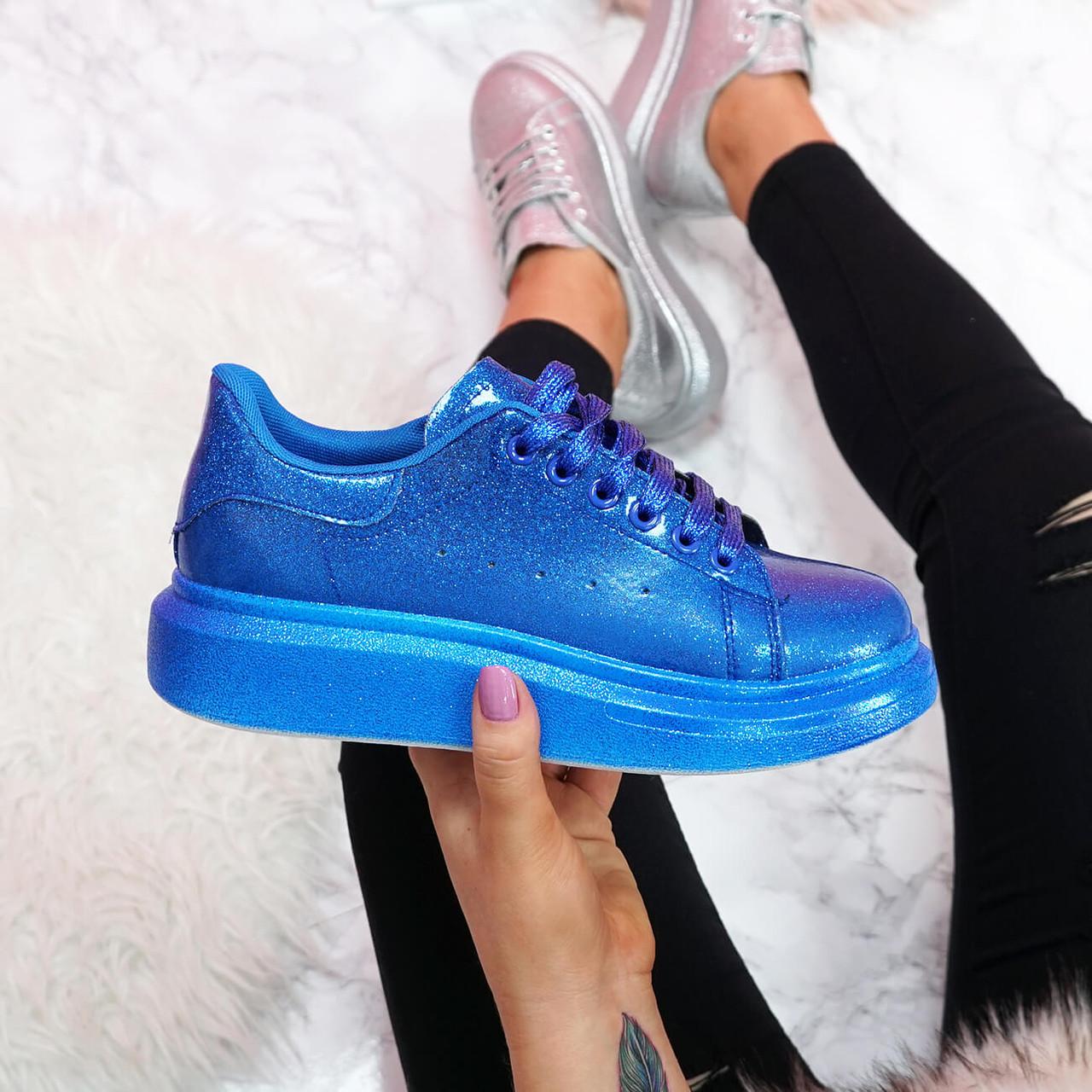 Ellya Blue Glitter Trainers