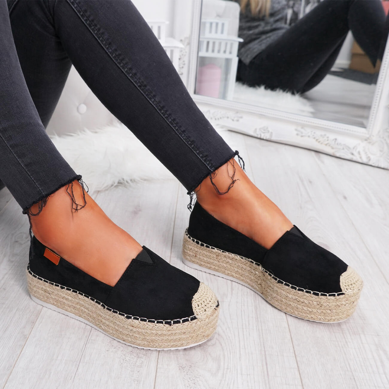 Uvya Black Espadrille Flatforms
