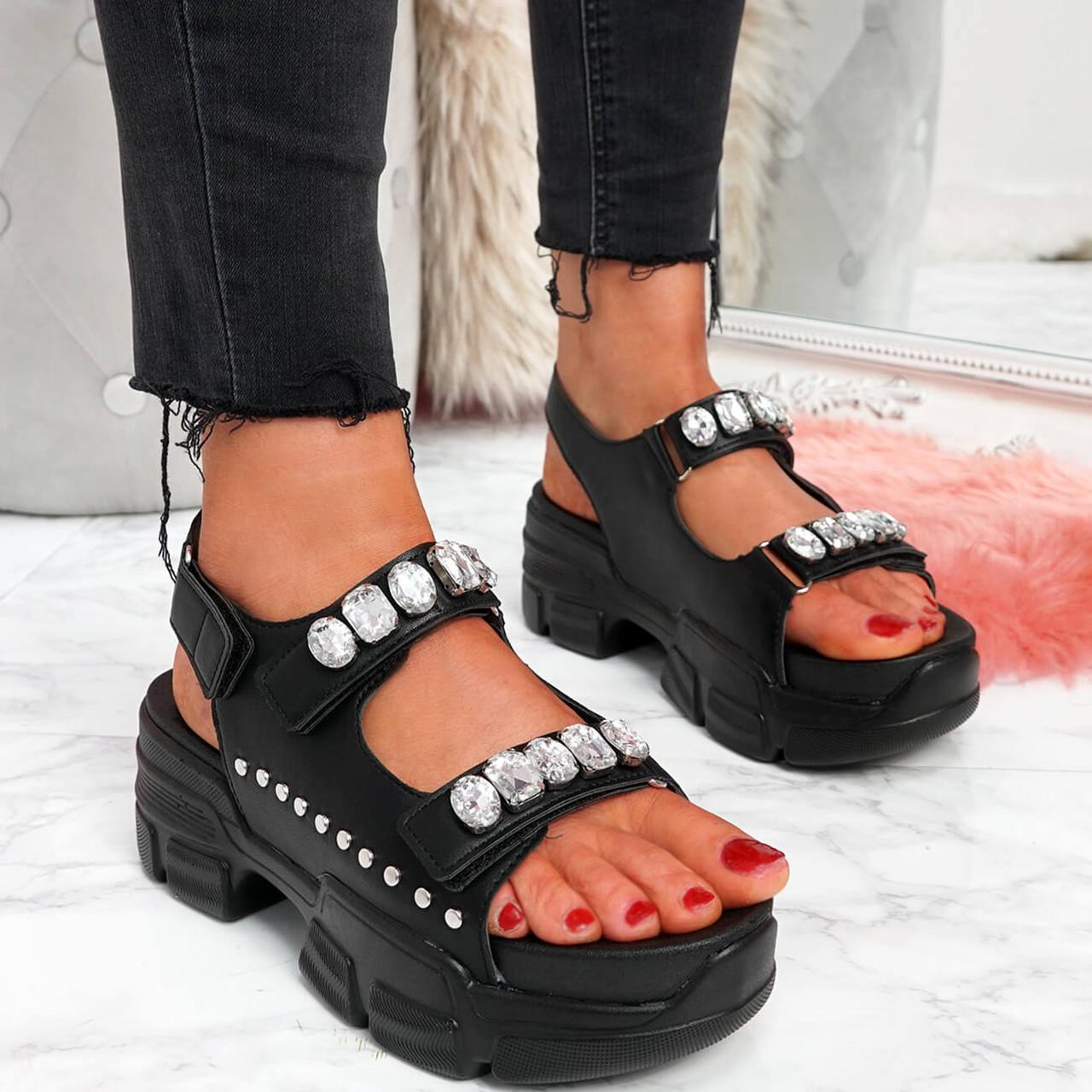 Hevy Black Rhinestone Chunky Sandals