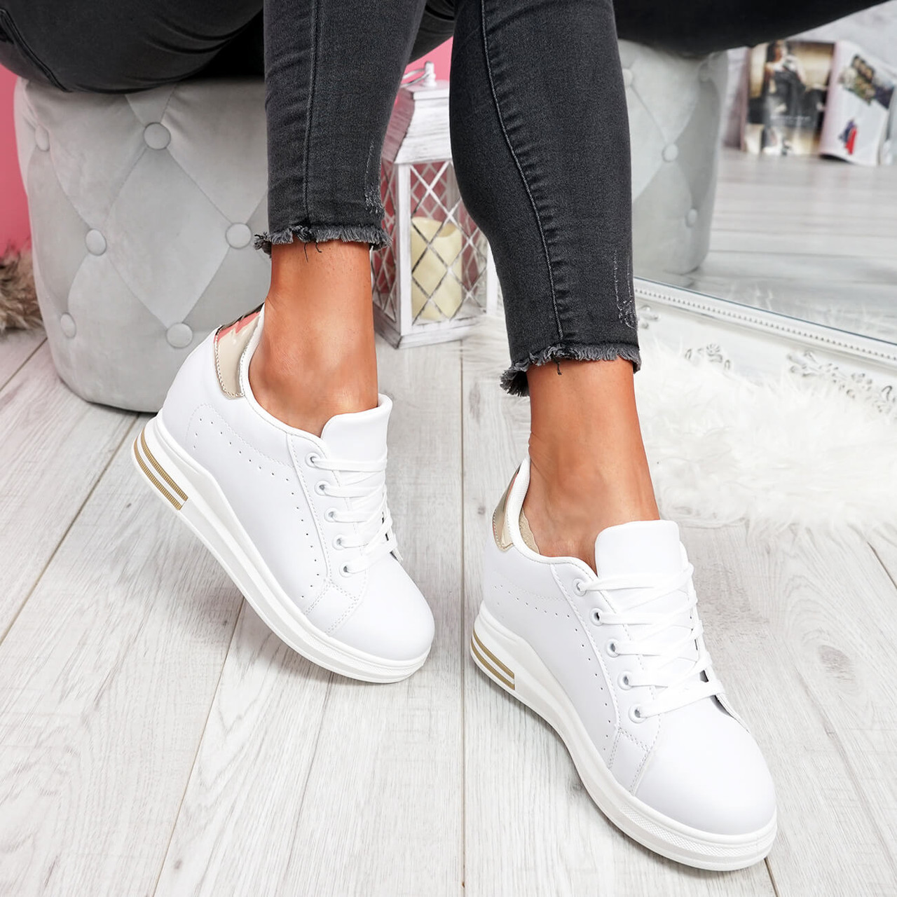 Misma White Gold Wedge Trainers