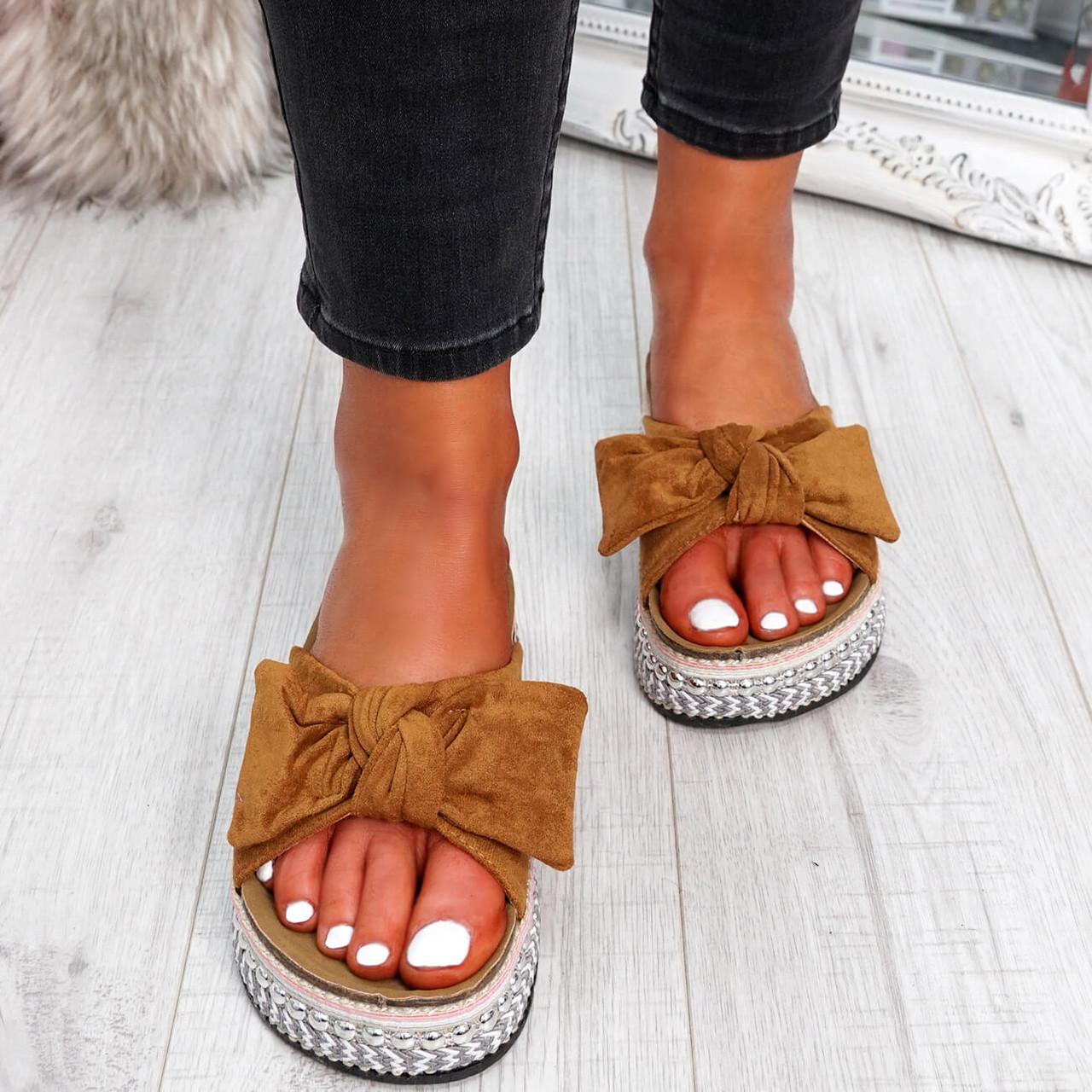 Motty Camel Flatform Sandals