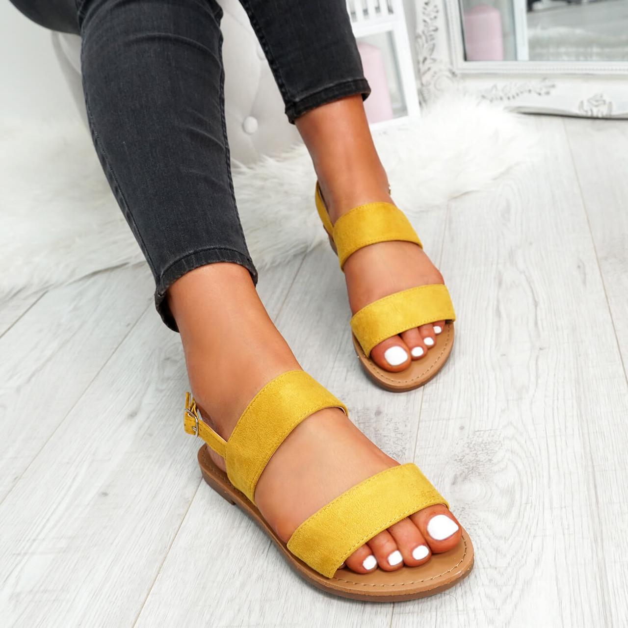 Kuto Yellow Flat Sandals