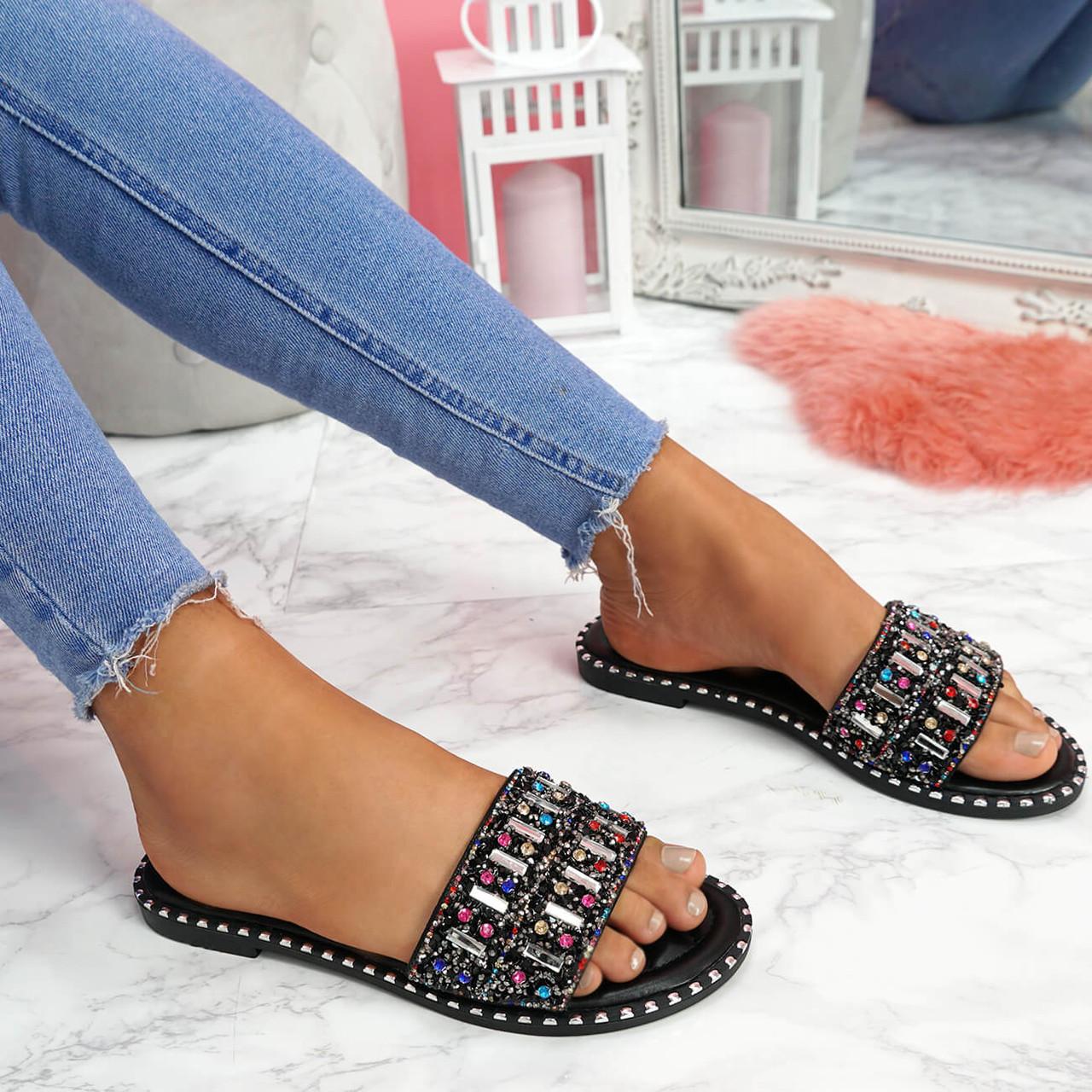 Geby Black Glitter Studded Sandals