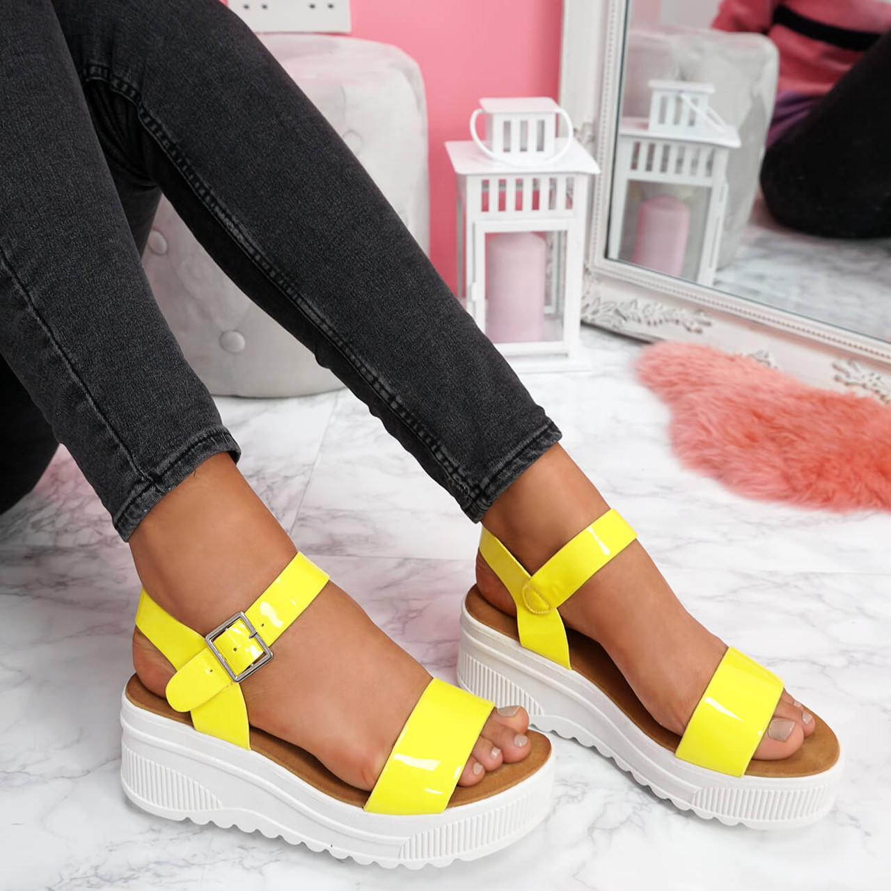 Terry Yellow Ankle Strap Platform Sandals