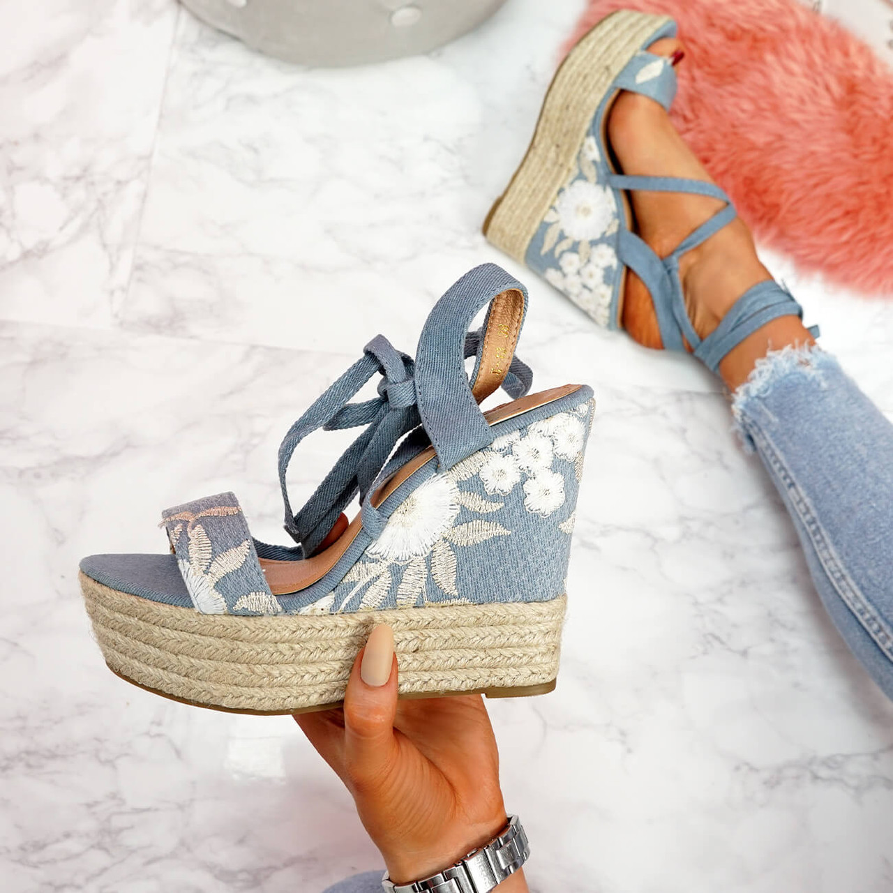 Lazza Light Blue Lace Up Wedge Sandals