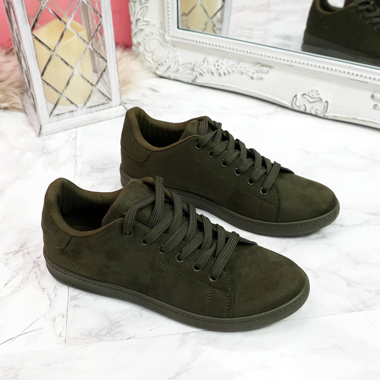 Tedda Green Lace Up Flat Trainers