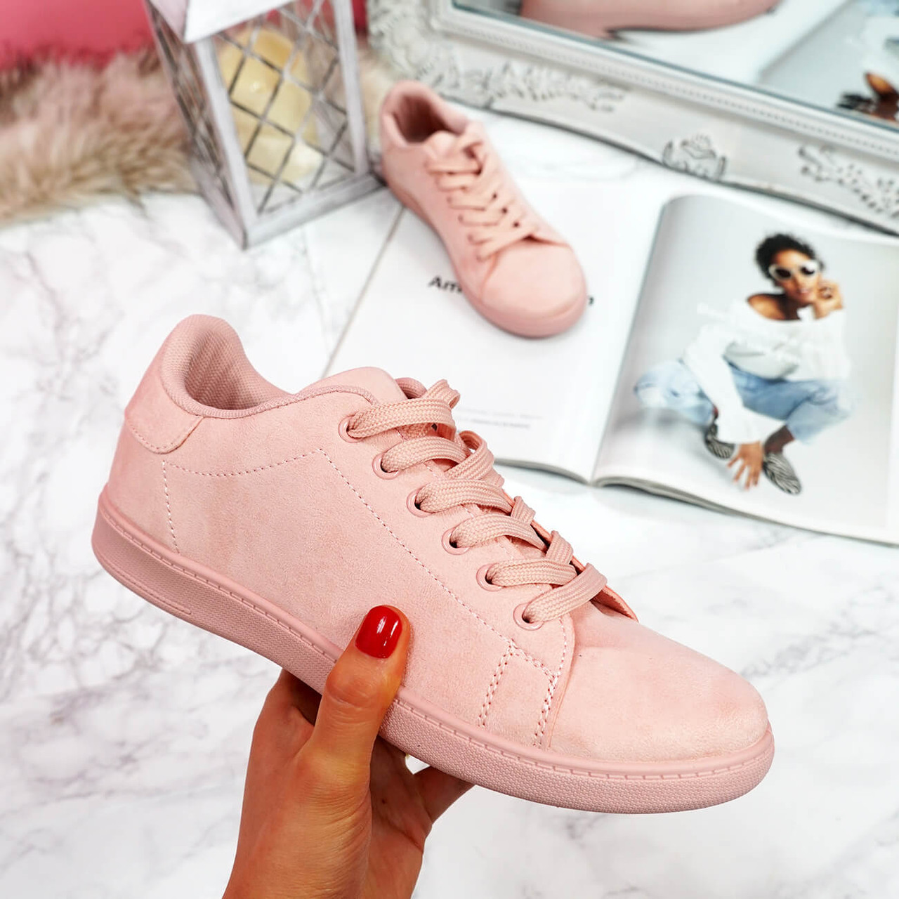 Tedda Pink Lace Up Flat Trainers
