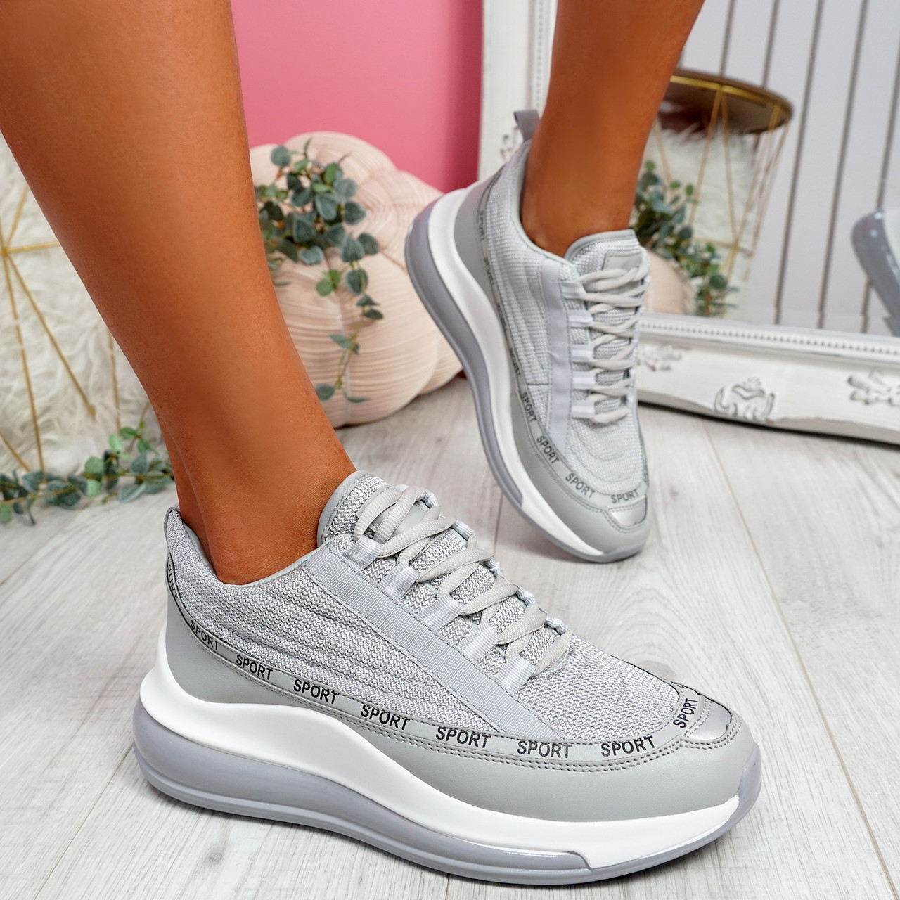 grey lace up trainers