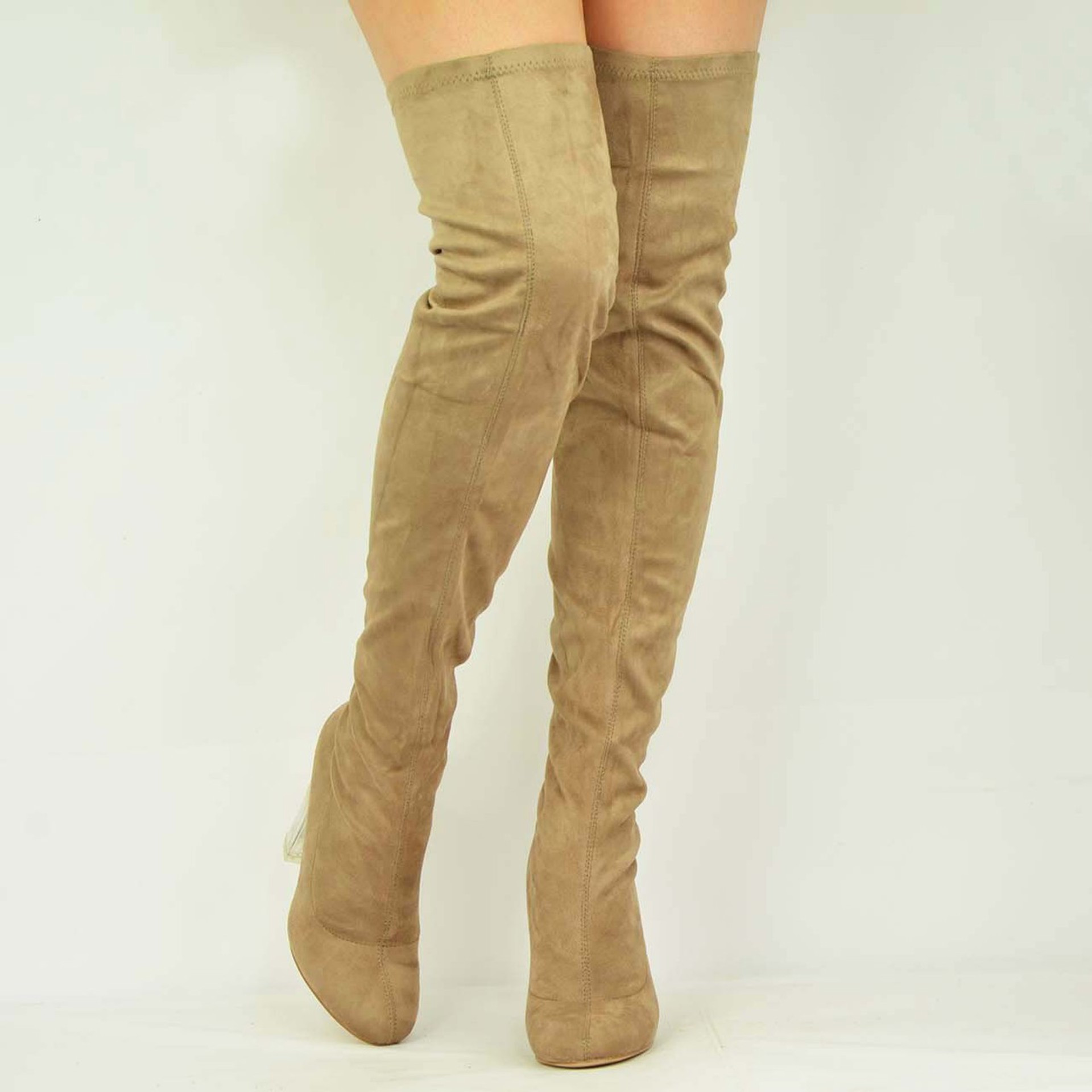 Taupe Suede Block Clear Heel Over The Knee Boots