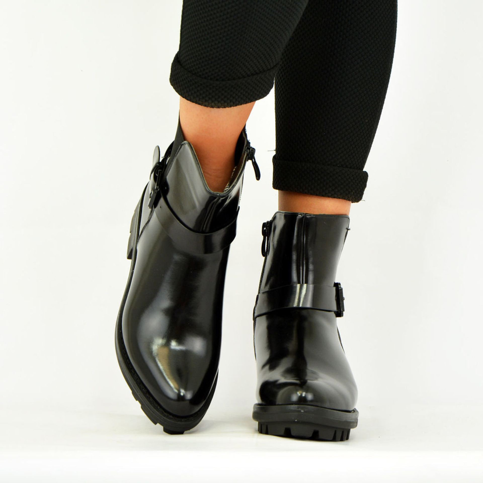 Black Patent Cleated Sole Ankle Boots