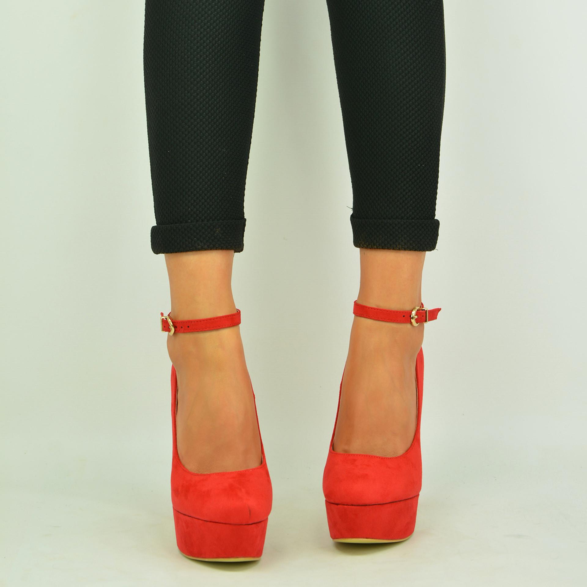 Red Ankle Strap Platform Pumps