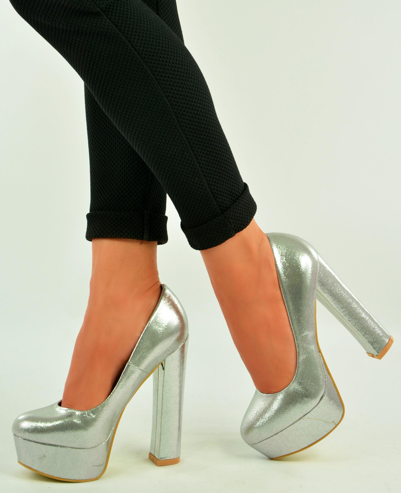 Silver High Block Heel Platform Sandals Pumps