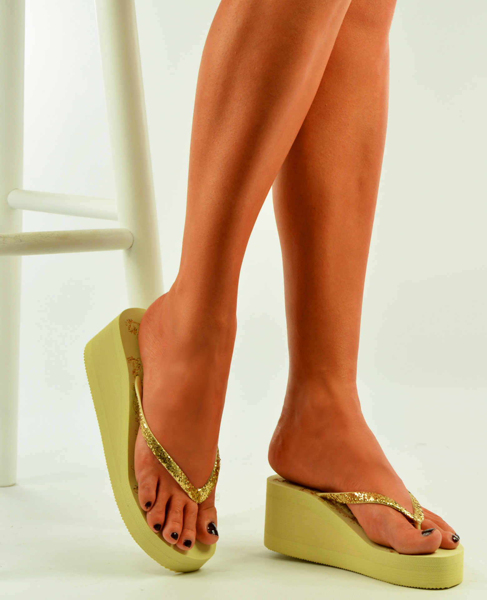 Khaki Wedge Flip Flops Platform Sandals