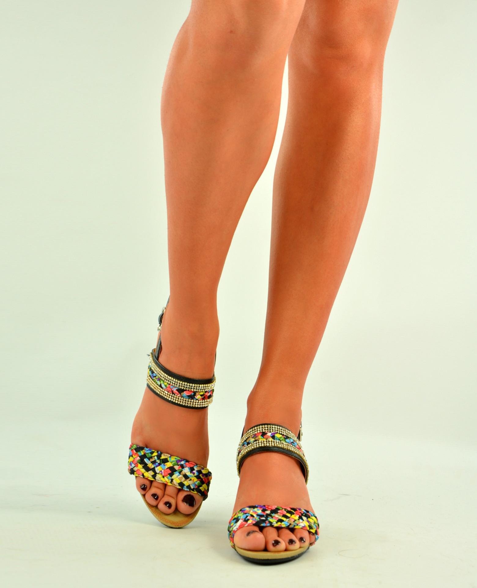 Black Studded Peep Toe Braids Wedges