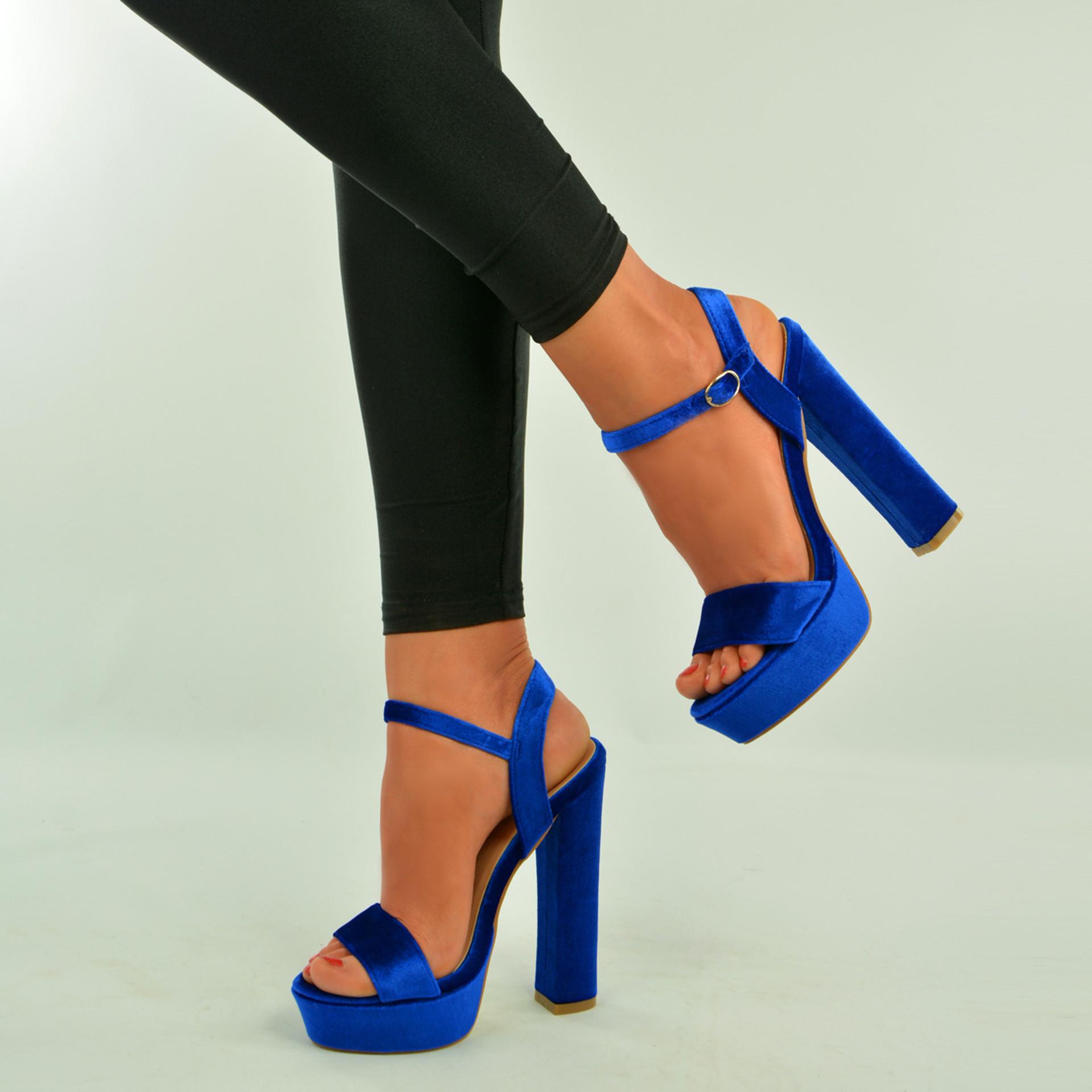 Blue Velvet Ankle Strap Platform Sandals