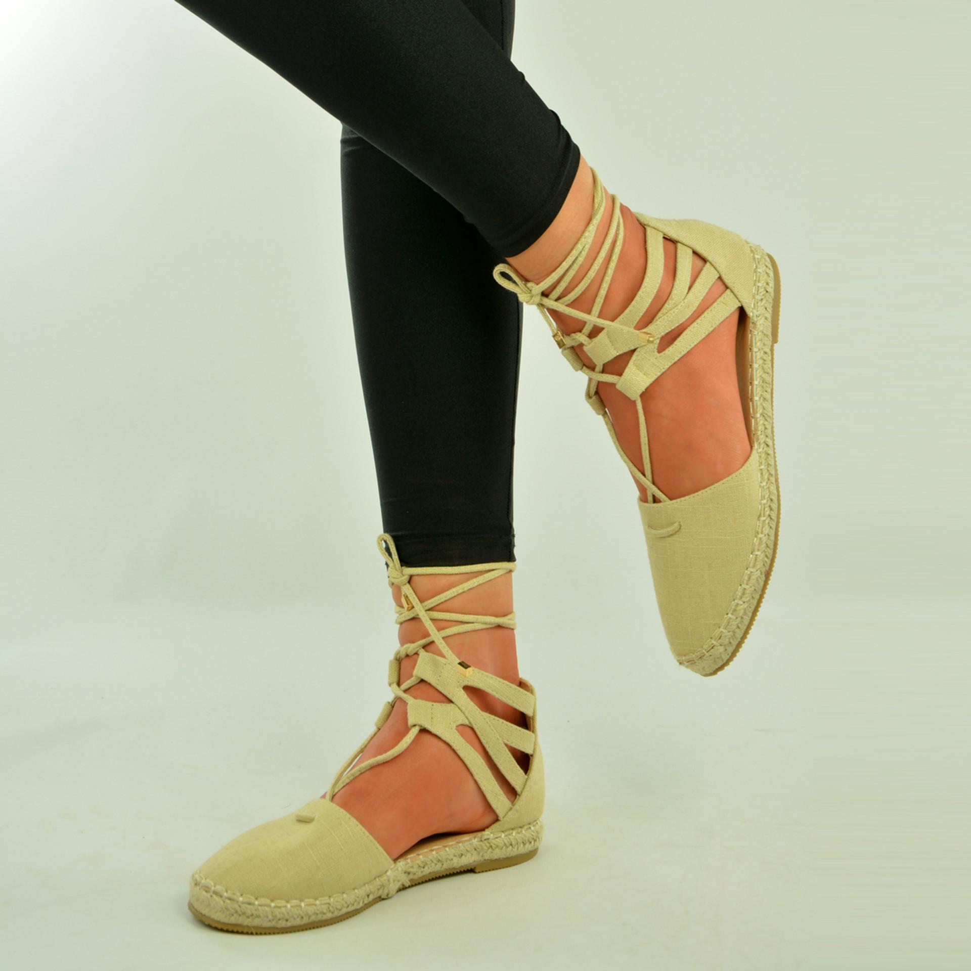 Beige Lace Up Flat Espadrille Sandals Shoes