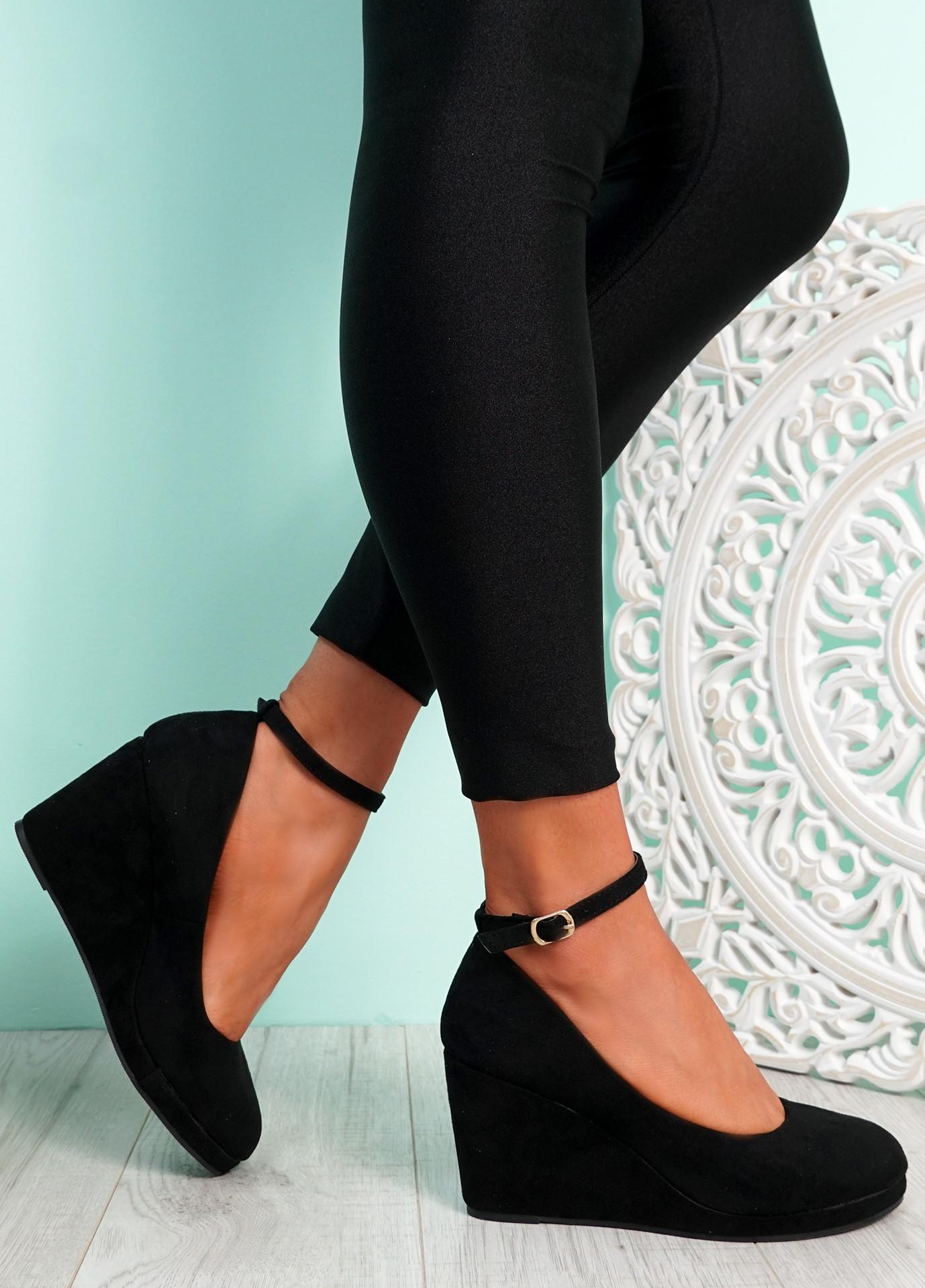 Lorene Black Suede Wedge Pumps Sandals