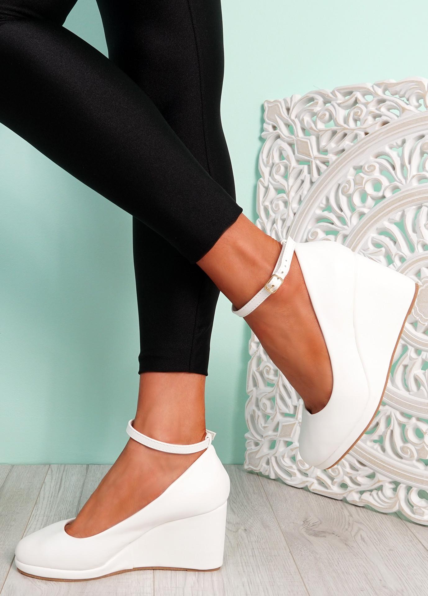 Lorene White Pu Wedge Pumps Sandals