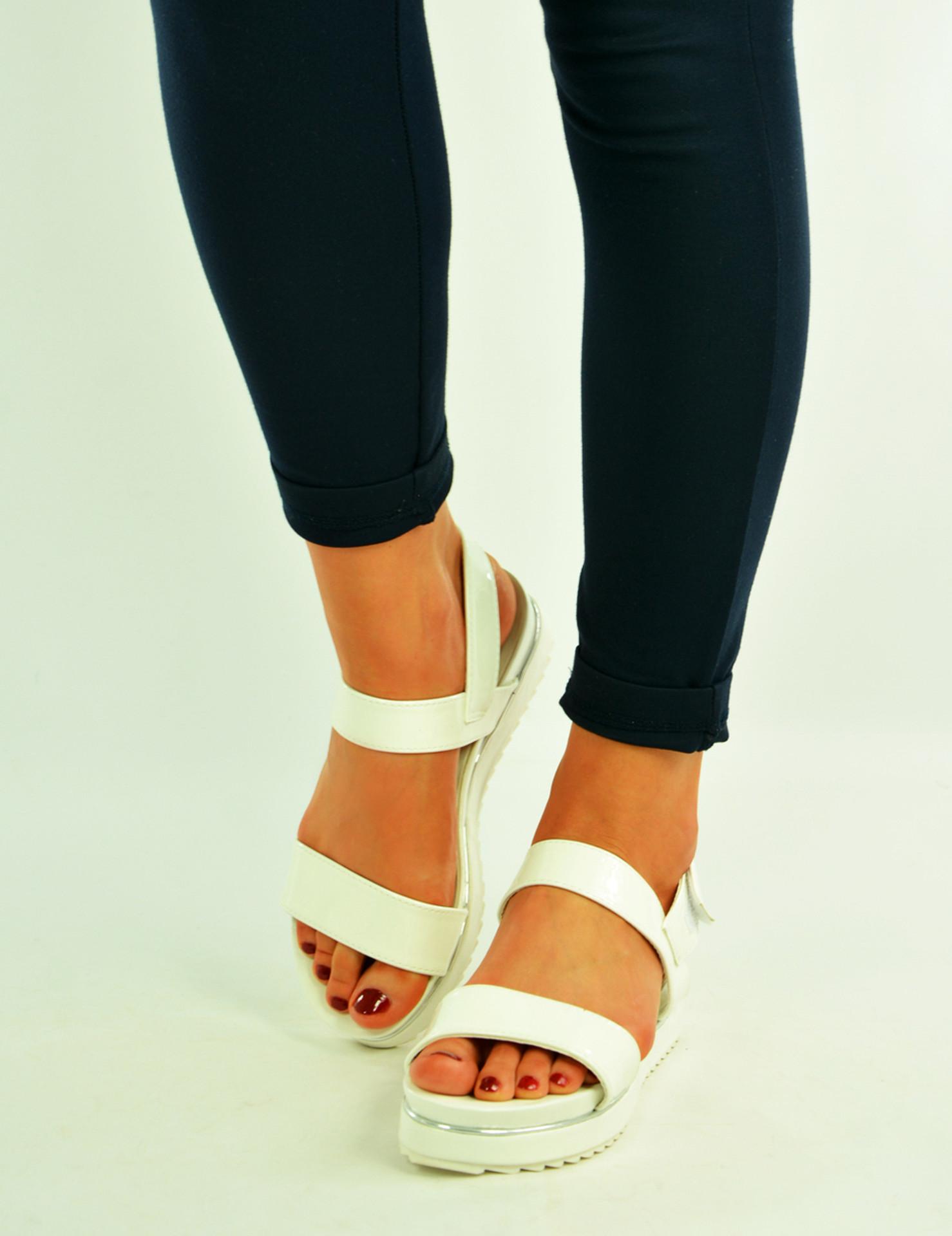 White Ankle Strap Platform Sandals