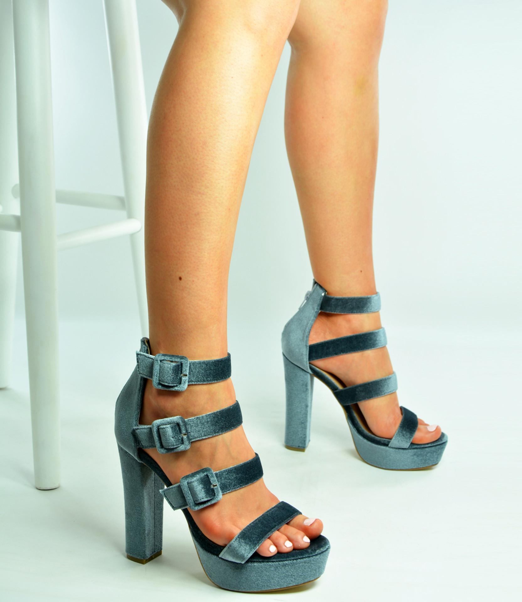 Grey Triple Strap Block Heel Platforms